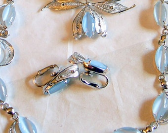 Vintage Alice Caviness Set - Blue Moonstone - Sterling Silver - SALE -  Necklace - Brooch Pin - Clip Earrings - Mid Century - 3 Piece Set