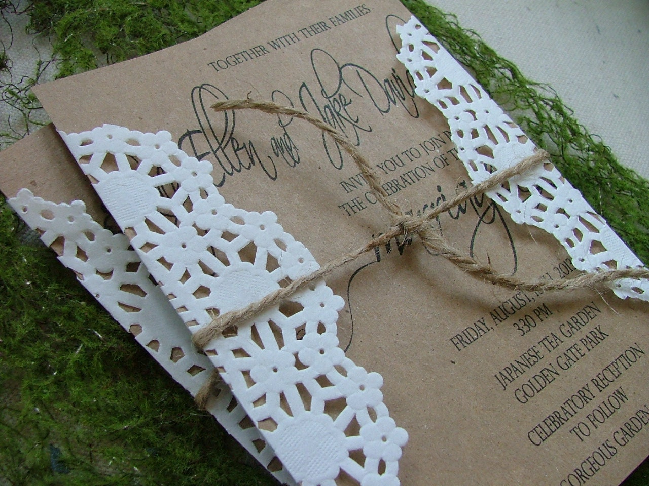 Items Similar To Doily And Kraft Wedding Invitations Vintage Romance Look On Etsy