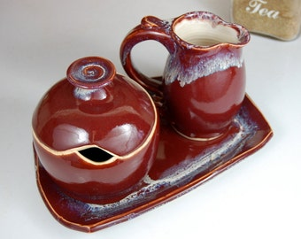 Red Agate Creamer And Sugar Jar Set with Tray - Made to Order