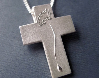 Silver Cross Crucifix, Catholic Cross Necklace Sterling, Crown of Thorns - COMPASSION Pendant with Chain