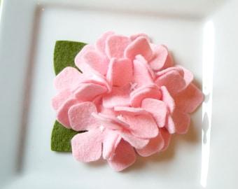 Wool Felt Flower Hydrangea in Pink Set of Two