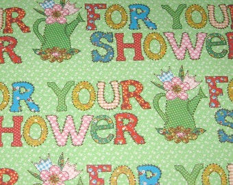 Vintage Wedding Shower Wrapping Paper or Gift Wrap with Words Flowers and Watering Cans