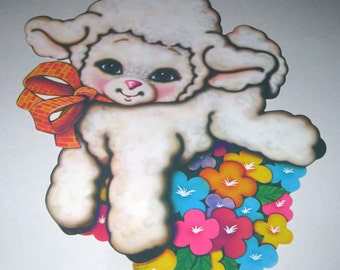 Vintage 1980s Die Cut Cardboard Easter Decoration with Sweet Lamb and Flowers by Beistle