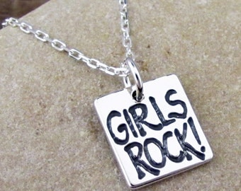 Girls Rock Necklace - Rock Star Daughter Jewelry - Silver Girl Power Charm #SP-02