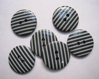 15 pcs of   White Stripe on Dark Grey  Button  - 23mm