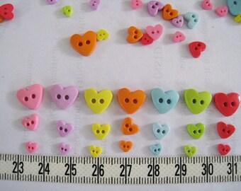 100pcs of Tiny Heart  Button - Pastel Pink Green Yellow Orange Blue Purple
