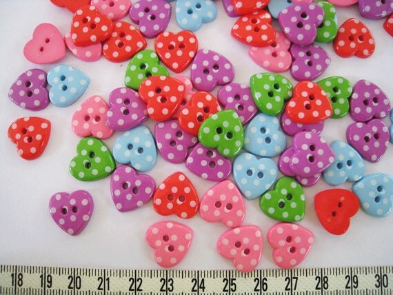 Reserved listing for verunkak 50 pcs of polka dot heart  button in mixed color