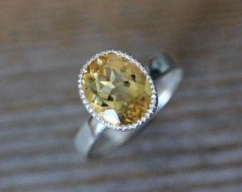 Golden Citrine Ring, Miligrain Ring, Gold Gemstone Ring, Oval Citrine Solitaire Ring, Antique Style