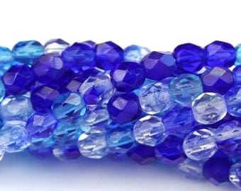 Czech Glass Beads Fire Polished Faceted Rounds 4mm Blue Mix (50) CZF571