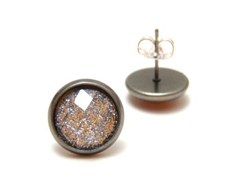 Silver Glitter Studs - Super sparkly bright silver glitter rhinestones on gunmetal post earrings