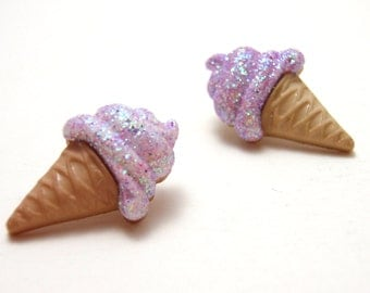 Purple Ice Cream Cone Studs - Glittery light purple ice cream in waffle cone post earrings - Lolita Kawaii Fairy Kei