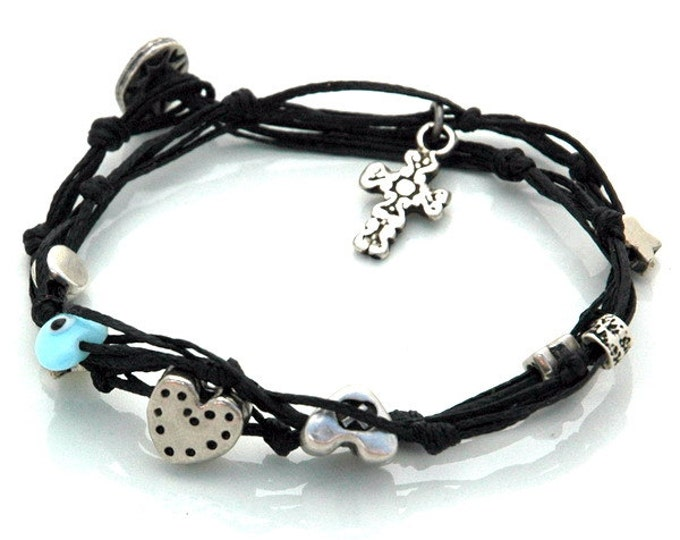 Black Double Wrapping Cross Charm Bracelet -  Christian Jewelry for Protection and Good Luck