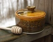 Small Honey Jar Pot with Wood Dipper Brown Spiced Pumpkin Ready to ship