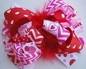 boutique FUNKY fun RED and pink CHEVRON hair bow clip