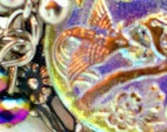 Birds of Paradise Necklace - Vintage Czech Glass & Rainbow Beads