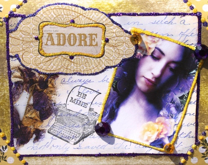 Altered Art Folded Greeting Card, Be Mine, Adore, Valentine, Floral, Purple, Gold, Size 5x7, 3d, Blank Inside