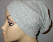 FREE SHIP USA Gray Slouch Chemo Cap, Cancer Hat, Alopecia, Modest Hat,