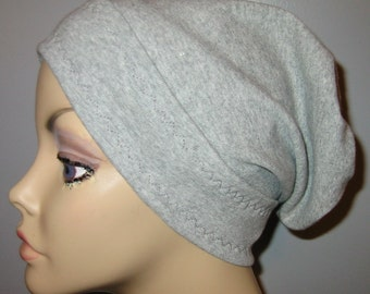 Gray Slouch Chemo Cap, Cancer Hat, Alopecia, Modest Hat,