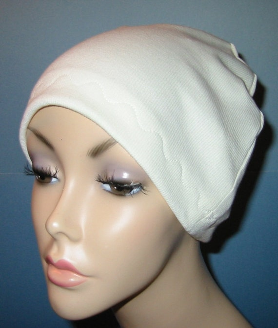 Ivory Cotton Hat Liner -Chemo, Cancer, Alopecia, Hijab Liner,  Sleep Cap, Scarf Liner