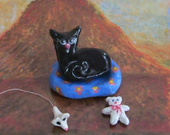 Black Cat Art, Cat Sculpture, Totem Bead, Polymer Clay, Teddy Bear, Mouse.