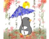 Japanese Garden Stroll- Art Print (Penguin & Peep) 8 x 10