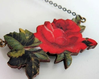 Red Rose Wooden Necklace - Red Rose Jewelry - Red Rose Choker - Valentine Necklace - Wooden Jewelry - Laser Cut Jewelry