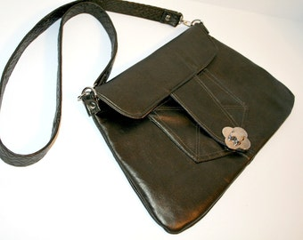 OOAK Upcycled Silver Green Leather Shoulder Bag