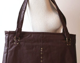 Chocolate Brown Recycled Leather Handbag Tote Shoulder Bag OOAK