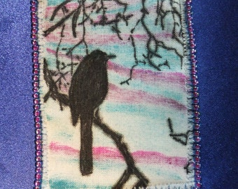 Tiny Art Quilt ATC Sunset Shilouette of a Bird in a Tree