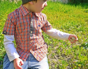 SALE - Unique Red Plaid Boys Shirt - Polka Dot Contrast Sizes 3T - 10