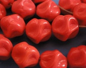 Vintage Glass Beads (6) (10mm) German Red Beads