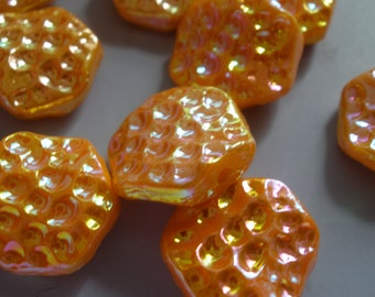 Viintage Glass Beads (6) German Tangerine AB Crater Beads (yes they have a stringing hole)