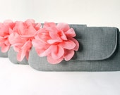 Custom Grey and Coral Bridesmaid Clutch with Flower Bow