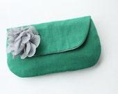 Wedding Clutch and Flower Brooch, Emerald and Grey, Bridesmaid Gift, Clutch Purse