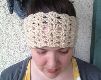 Crochet PATTERN Plain Jane Headwarmer lacy reversible headband/ ear warmer (adult size)