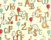 SALE Animal Alphabet Fabric Ivory Moda Mind Your Ps and Qs by Keiki 1 Yard Cotton Quilting Fabric