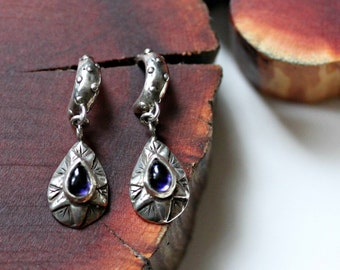 the sun and the moon earrings (iolite)