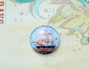 4pcs handmade ship round clear glass dome cabochons 25mm (250641)