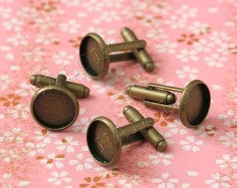 10 pcs antique bronze finish cufflinks base bezel - round pad inner size 12mm diameter. (BN101A)