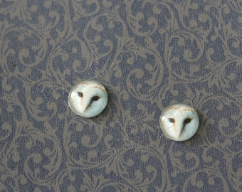 Sale - 10pcs handmade white owl round clear glass dome cabochons 12mm (12-0708)