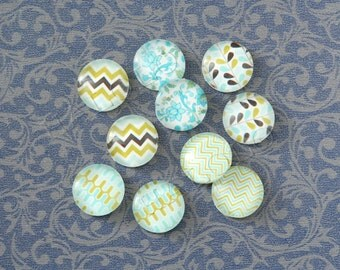 10pcs handmade assorted light blue texture geometric round clear glass dome cabochons 12mm (12-0009)
