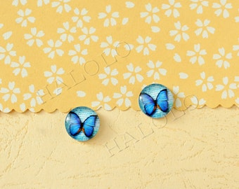 Sale - 10 pcs handmade blue butterfly glass cabochons 12mm (12-0812)