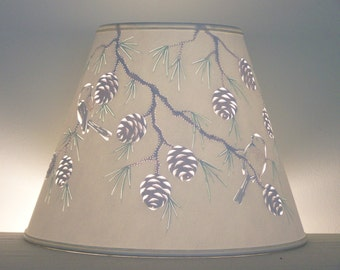 Reverse painted Pine Cone & Chickadee Lampshade - Lampshade - Birds - Chickadees - Pierced Lampshade - Home and Living - Lamp Shade
