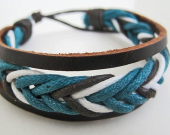 Slim Blue, White, and Brown leather cuff