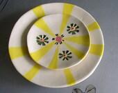 ceramic plates set yellow sun rays on white plates serving or decorative plates