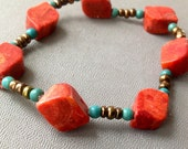Stone Stretch Bracelet - Red Coral and Blue Turquoise - Layering Bracelet