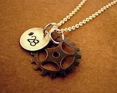SALE!!  Motocross Sprocket Handstamped Necklace