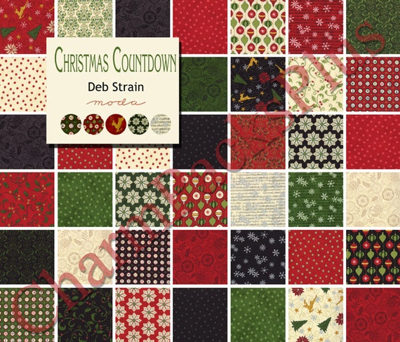 CHRISTMAS COUNTDOWN Moda Fabric Charm Pack Five Inch Quilt