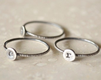Stacked Initial Rings - Sterling Silver Set of Three (3)