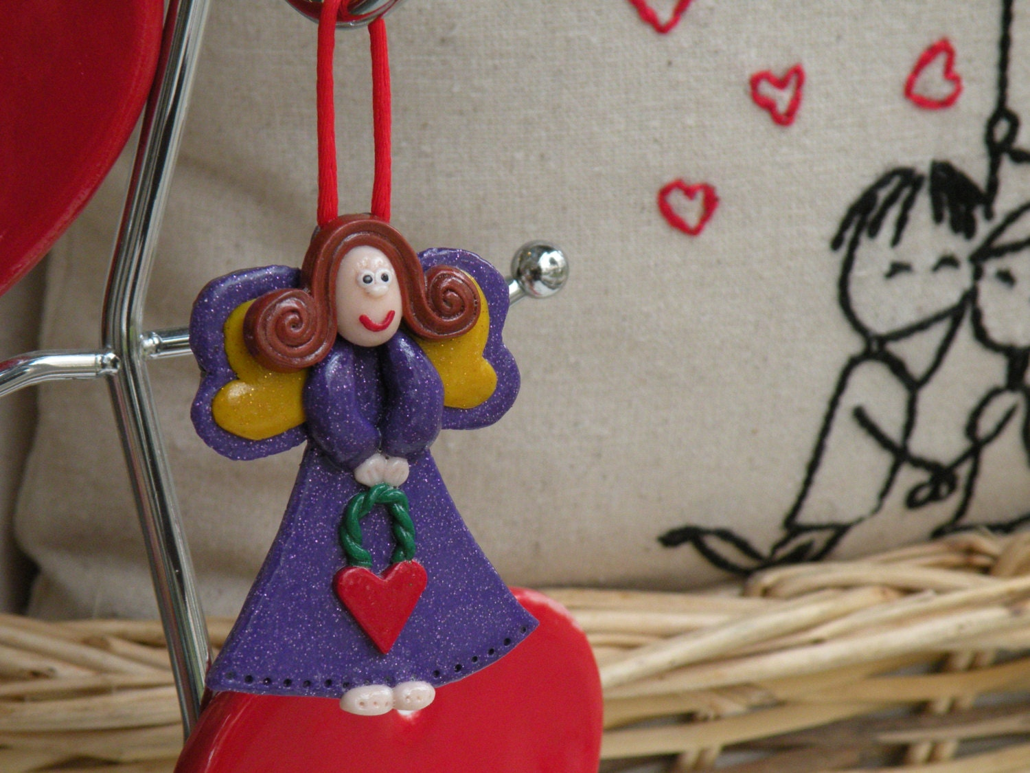 Angel of Love, Ornament Decor, Christmas Tree Ornament, Purple Angel with Red Heart, Baby Girl Decoration